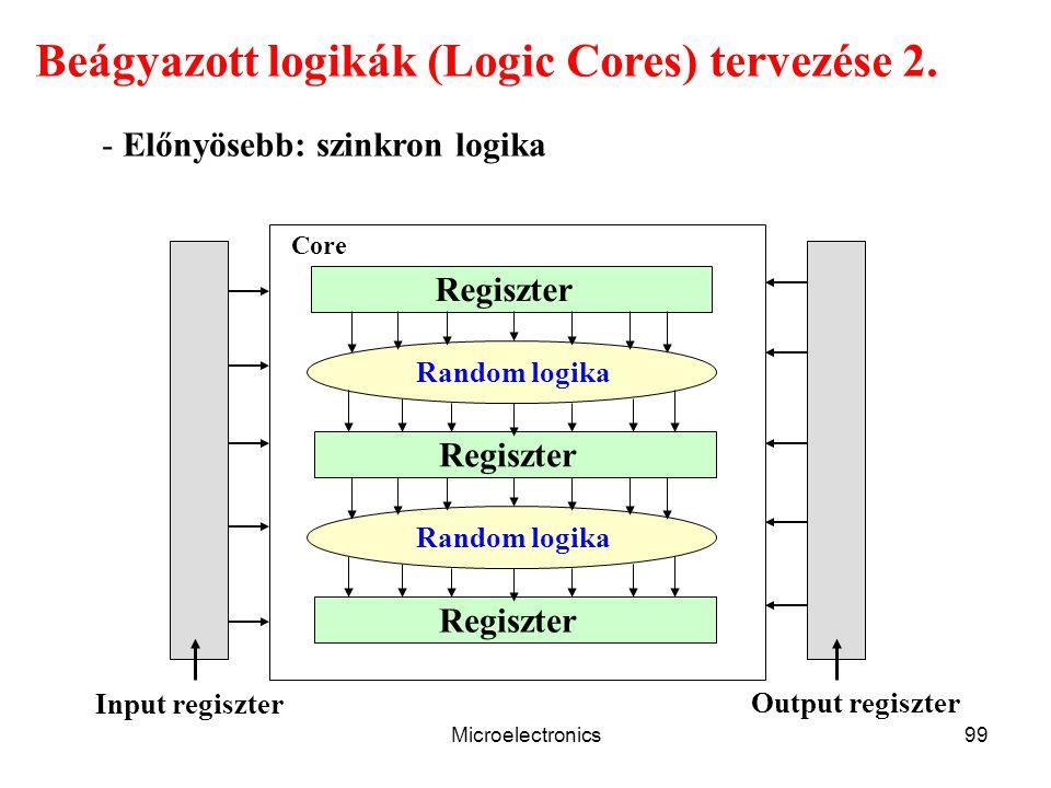 Microelectronics99 Beágyazott logikák (Logic Cores) tervezése 2. - Előnyösebb: szinkron logika Regiszter Random logika Regiszter Random logika Regiszt