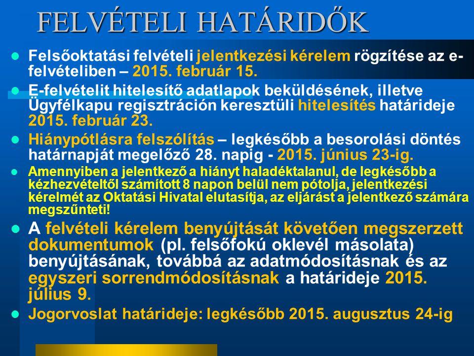 FELVÉTELI HATÁRIDŐK Felsőoktatási felvételi jelentkezési kérelem rögzítése az e- felvételiben – 2015. február 15. E-felvételit hitelesítő adatlapok be