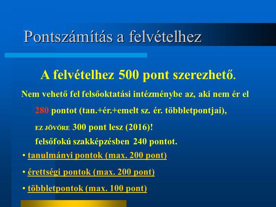 Pontszámítás a felvételhez A felvételhez 500 pont szerezhető. Nem vehető fel felsőoktatási intézménybe az, aki nem ér el 280 pontot (tan.+ér.+emelt sz