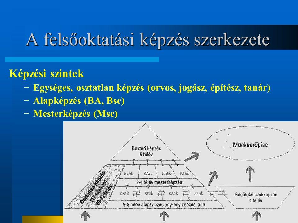 A felsőoktatási képzés szerkezete Képzési szintek −Egységes, osztatlan képzés (orvos, jogász, építész, tanár) −Alapképzés (BA, Bsc) −Mesterképzés (Msc