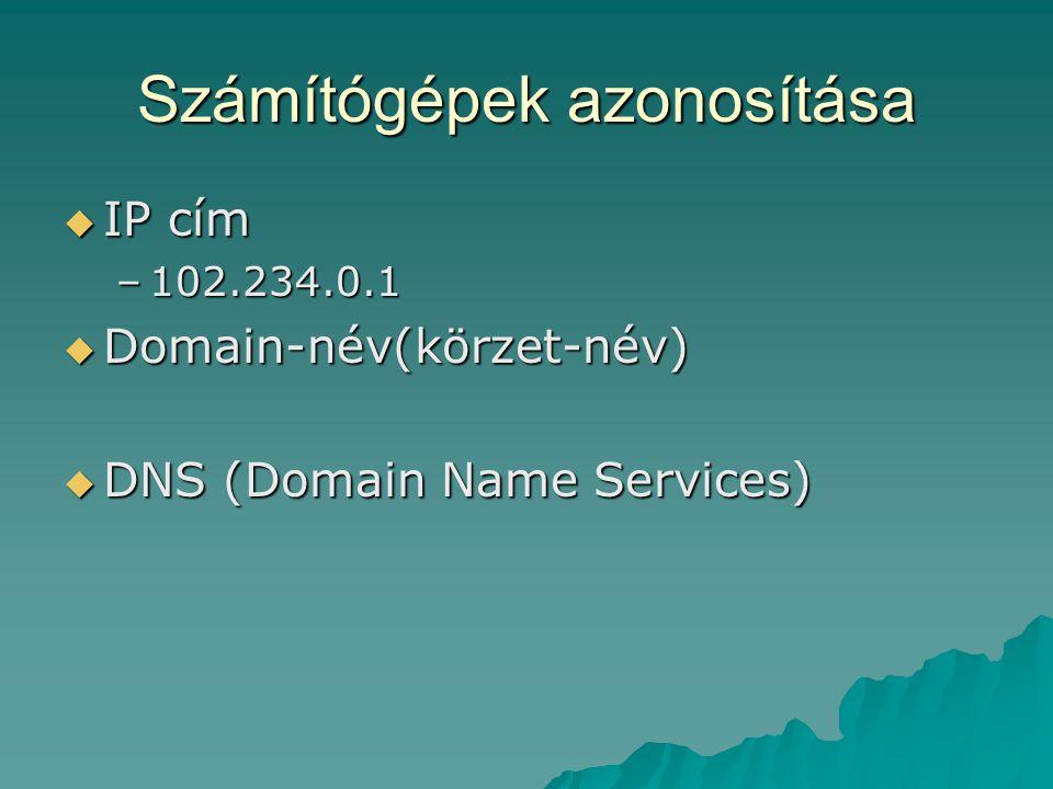 Számítógépek azonosítása  IP cím –102.234.0.1  Domain-név(körzet-név)  DNS (Domain Name Services)