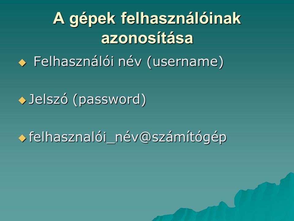 A gépek felhasználóinak azonosítása  Felhasználói név (username)  Jelszó (password)  felhasznalói_név@számítógép