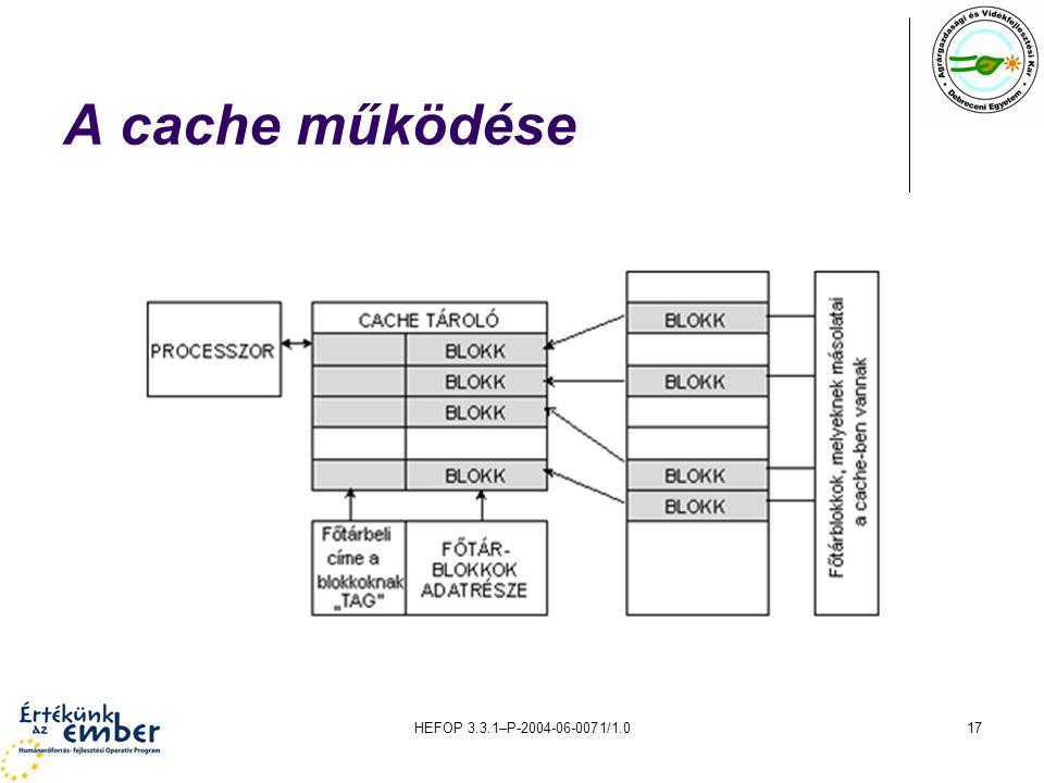 HEFOP 3.3.1–P-2004-06-0071/1.017 A cache működése