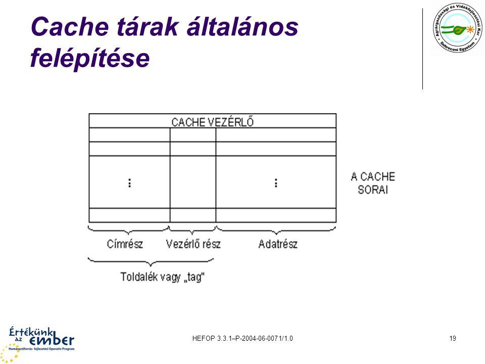 HEFOP 3.3.1–P-2004-06-0071/1.019 Cache tárak általános felépítése