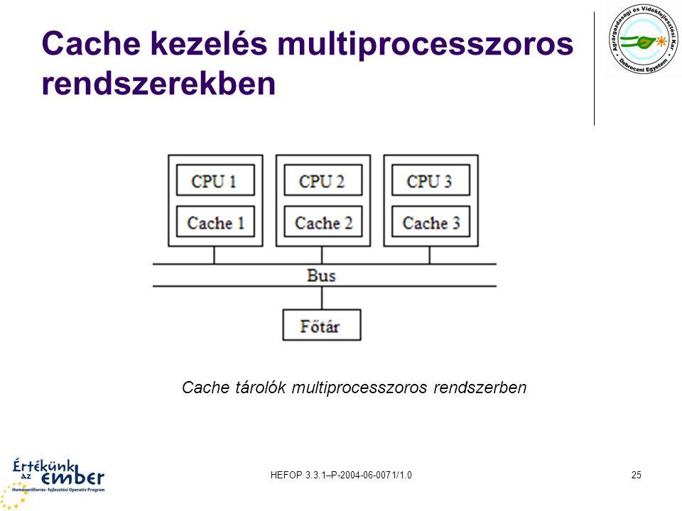 HEFOP 3.3.1–P-2004-06-0071/1.025 Cache kezelés multiprocesszoros rendszerekben Cache tárolók multiprocesszoros rendszerben