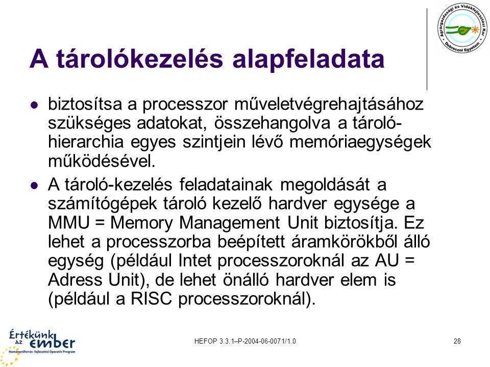 HEFOP 3.3.1–P-2004-06-0071/1.028 A tárolókezelés alapfeladata biztosítsa a processzor műveletvégrehajtásához szükséges adatokat, összehangolva a tároló- hierarchia egyes szintjein lévő memóriaegységek működésével.