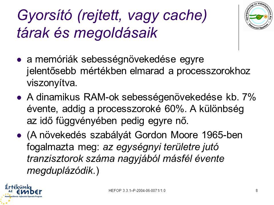 HEFOP 3.3.1–P-2004-06-0071/1.08 Gyorsító (rejtett, vagy cache) tárak és megoldásaik a memóriák sebességnövekedése egyre jelentősebb mértékben elmarad a processzorokhoz viszonyítva.