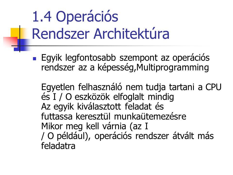 1.4 Operációs Rendszer Architektúra Egyik legfontosabb szempont az operációs rendszer az a képesség,Multiprogramming Egyetlen felhasználó nem tudja tartani a CPU és I / O eszközök elfoglalt mindig Az egyik kiválasztott feladat és futtassa keresztül munkaütemezésre Mikor meg kell várnia (az I / O például), operációs rendszer átvált más feladatra