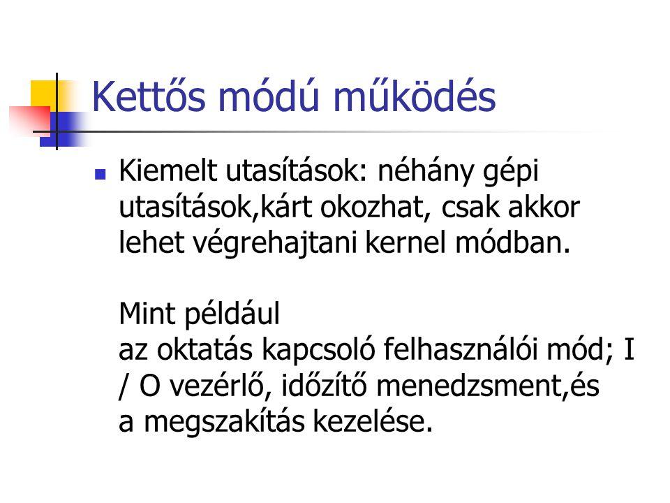 Kettős módú működés Kiemelt utasítások: néhány gépi utasítások,kárt okozhat, csak akkor lehet végrehajtani kernel módban.