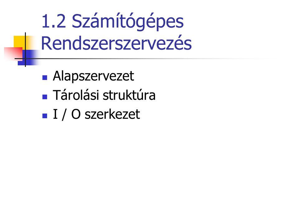 1.2 Számítógépes Rendszerszervezés Alapszervezet Tárolási struktúra I / O szerkezet