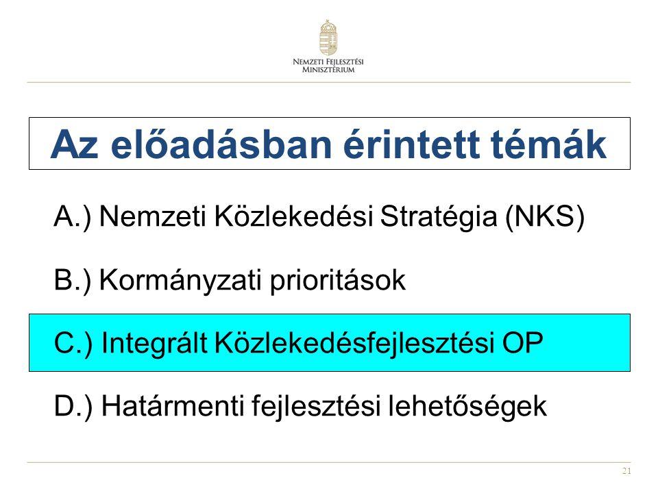 21 Az előadásban érintett témák A.) Nemzeti Közlekedési Stratégia (NKS) B.) Kormányzati prioritások C.) Integrált Közlekedésfejlesztési OP D.) Határmenti fejlesztési lehetőségek