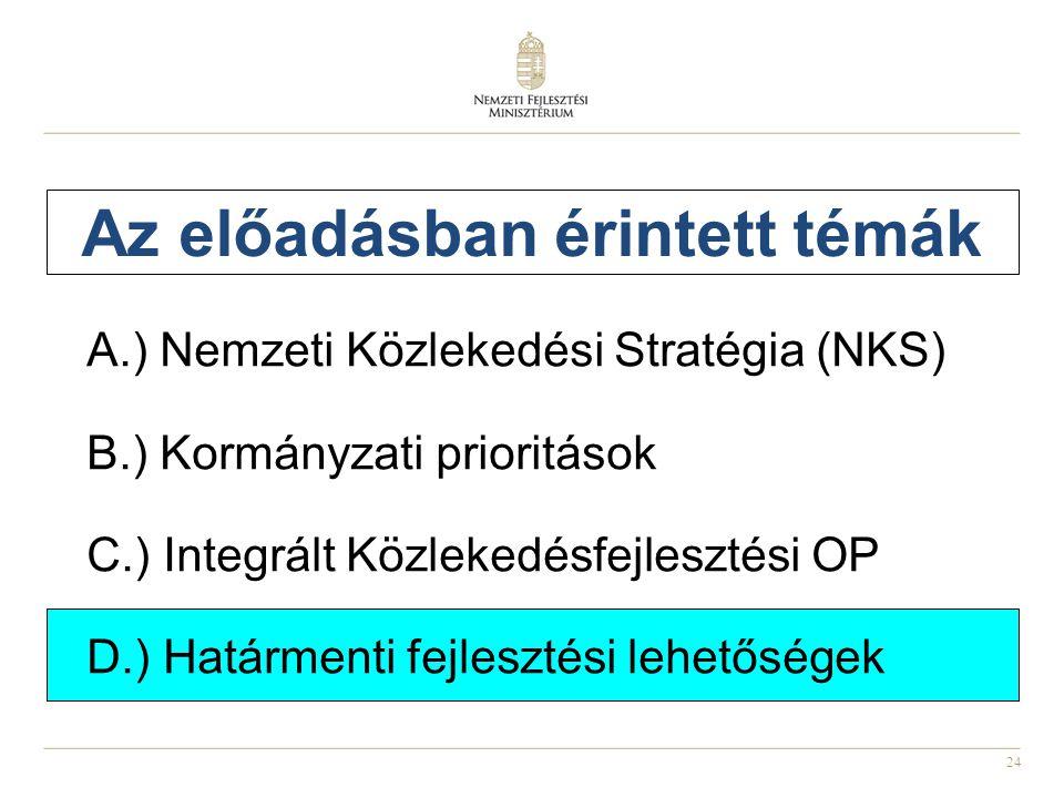 24 Az előadásban érintett témák A.) Nemzeti Közlekedési Stratégia (NKS) B.) Kormányzati prioritások C.) Integrált Közlekedésfejlesztési OP D.) Határmenti fejlesztési lehetőségek