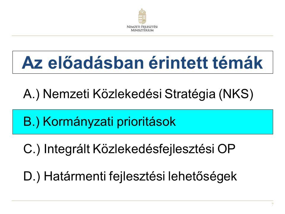 7 Az előadásban érintett témák A.) Nemzeti Közlekedési Stratégia (NKS) B.) Kormányzati prioritások C.) Integrált Közlekedésfejlesztési OP D.) Határmenti fejlesztési lehetőségek