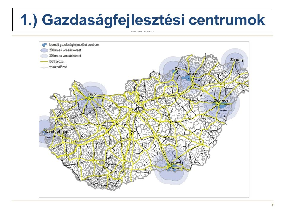 9 1.) Gazdaságfejlesztési centrumok