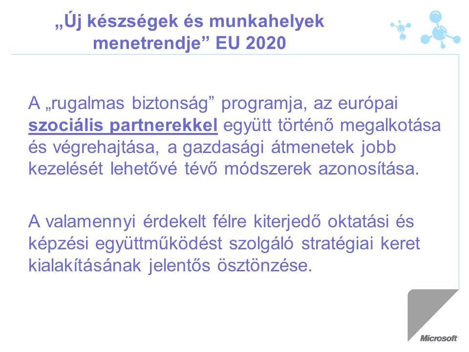 """""""Új készségek és munkahelyek menetrendje EU 2020 A """"rugalmas biztonság programja, az európai szociális partnerekkel együtt történő megalkotása és végrehajtása, a gazdasági átmenetek jobb kezelését lehetővé tévő módszerek azonosítása."""