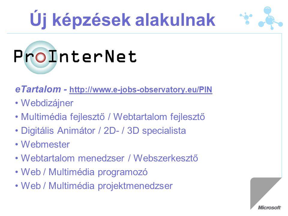 Új képzések alakulnak eTartalom - http://www.e-jobs-observatory.eu/PIN Webdizájner Multimédia fejlesztő / Webtartalom fejlesztő Digitális Animátor / 2D- / 3D specialista Webmester Webtartalom menedzser / Webszerkesztő Web / Multimédia programozó Web / Multimédia projektmenedzser