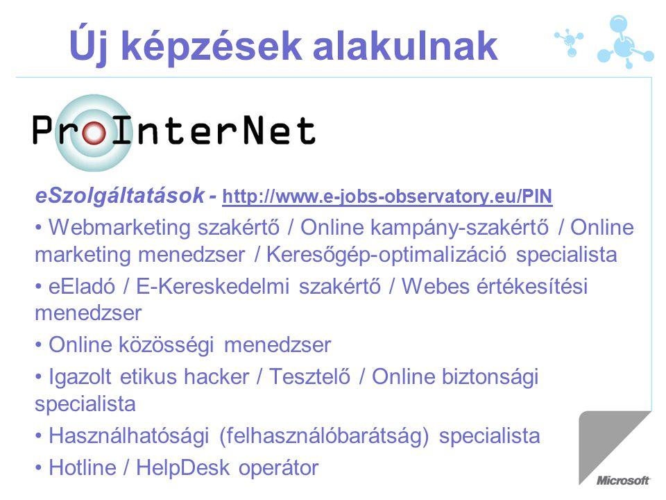 Új képzések alakulnak eSzolgáltatások - http://www.e-jobs-observatory.eu/PIN Webmarketing szakértő / Online kampány-szakértő / Online marketing menedzser / Keresőgép-optimalizáció specialista eEladó / E-Kereskedelmi szakértő / Webes értékesítési menedzser Online közösségi menedzser Igazolt etikus hacker / Tesztelő / Online biztonsági specialista Használhatósági (felhasználóbarátság) specialista Hotline / HelpDesk operátor