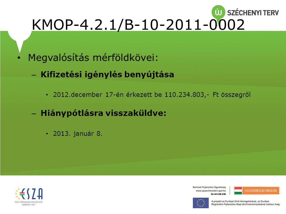 KMOP-4.2.1/B-10-2011-0002 Megvalósítás mérföldkövei: – Kifizetési igénylés benyújtása 2012.december 17-én érkezett be 110.234.803,- Ft összegről – Hiá