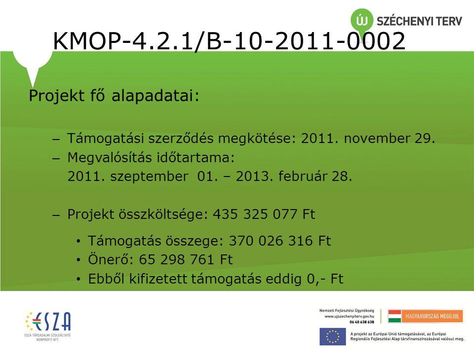 KMOP-4.2.1/B-10-2011-0002 Projekt fő alapadatai: – Támogatási szerződés megkötése: 2011. november 29. – Megvalósítás időtartama: 2011. szeptember 01.