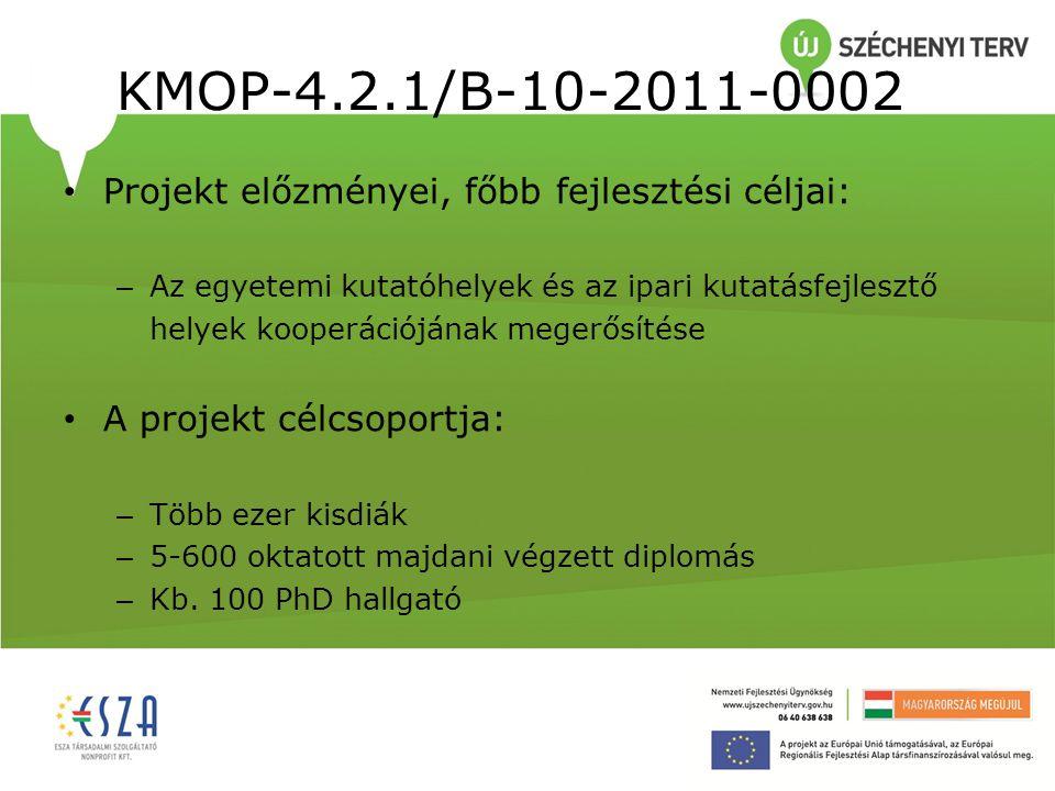 KMOP-4.2.1/B-10-2011-0002 Projekt tartalma: – Interdiszciplináris természettudományos kutató-hálózatok műszerparkját az innovatív jellegű, nemzetközileg is versenyképes kutatások és az ipari partnerekkel folytatott kooperációs kutatásfejlesztés színvonalának biztosítása céljából – Hazai felsőoktatásban unikális és társadalomépítés szempontjából fontos oktatási területek fejlesztése – Új oktatási módszerek, műhelyek, eszköztár és színvonalas modern technológiák beépítése révén az EU-ban már széles körben alkalmazott képzési gyakorlathoz való felzárkózás elősegítése