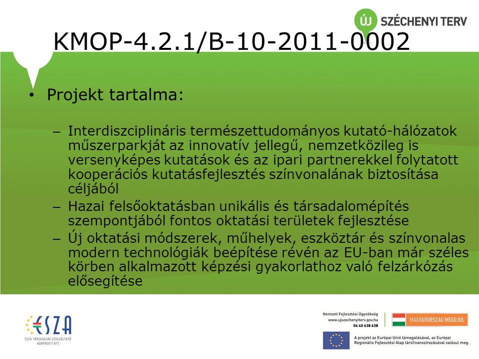 KMOP-4.2.1/B-10-2011-0002 Költségek megoszlása (az összköltség arányában): Eszközbeszerzés: 85,7% Projekt előkészítés költségei: 2% Projekt menedzsment költségek: 3,6% Egyéb szolgáltatások: 2,5% Általános költségek: 1,1% Tartalék: 5%