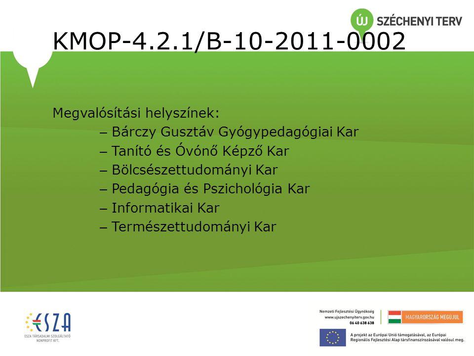 KMOP-4.2.1/B-10-2011-0002 Megvalósítási helyszínek: – Bárczy Gusztáv Gyógypedagógiai Kar – Tanító és Óvónő Képző Kar – Bölcsészettudományi Kar – Pedag