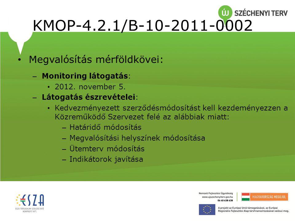 KMOP-4.2.1/B-10-2011-0002 Megvalósítás mérföldkövei: – Monitoring látogatás: 2012. november 5. – Látogatás észrevételei: Kedvezményezett szerződésmódo