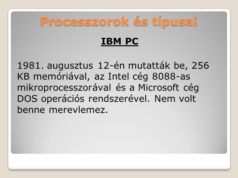 Processzorok és típusai IBM PC 1981.