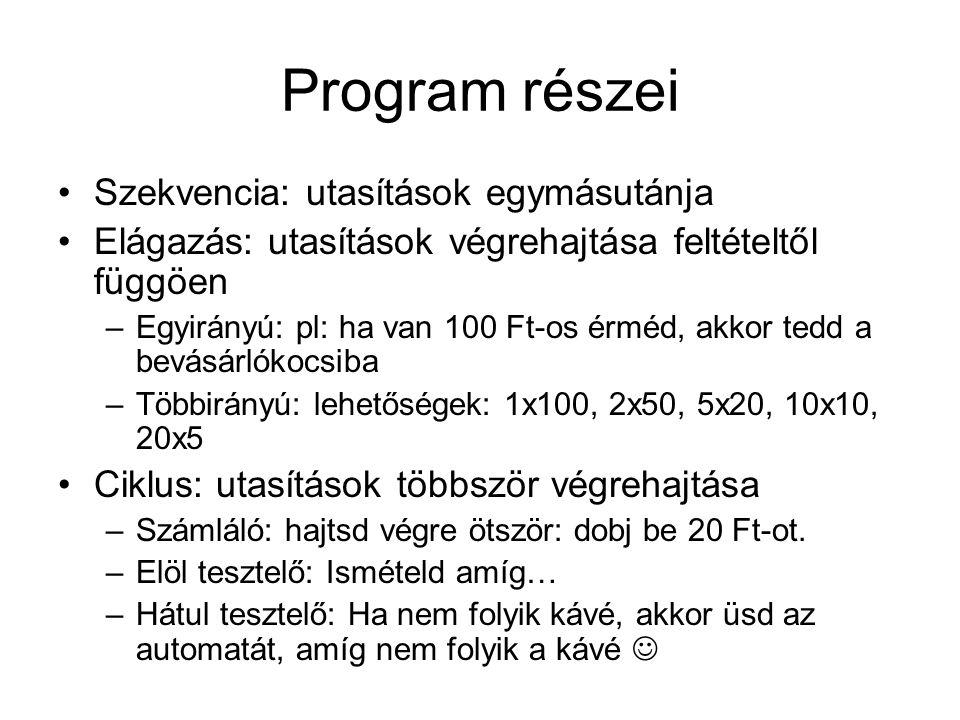 Program részei Szekvencia: utasítások egymásutánja Elágazás: utasítások végrehajtása feltételtől függöen –Egyirányú: pl: ha van 100 Ft-os érméd, akkor