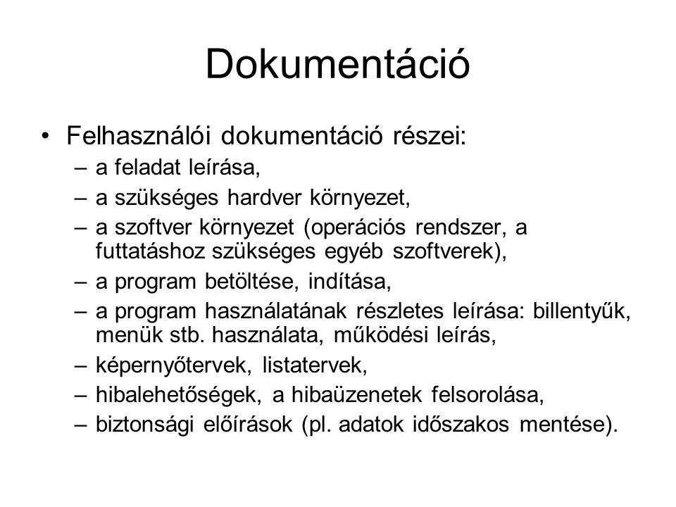 Dokumentáció Felhasználói dokumentáció részei: –a feladat leírása, –a szükséges hardver környezet, –a szoftver környezet (operációs rendszer, a futtat