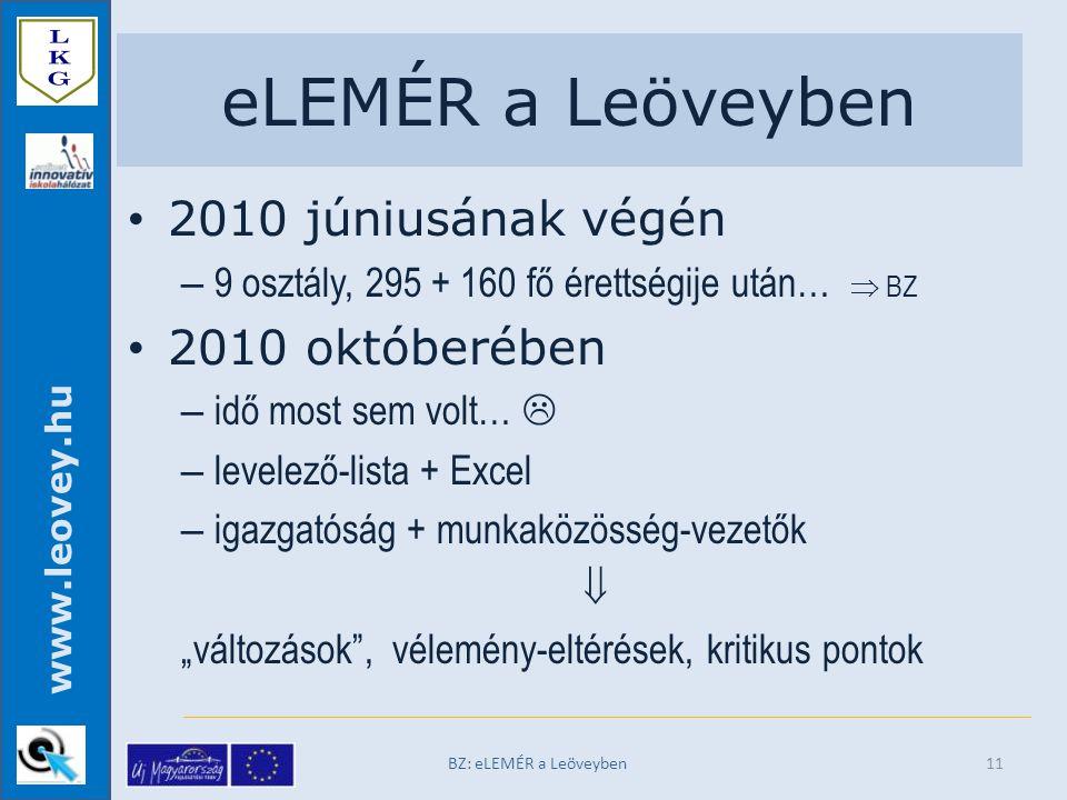 """www.leovey.hu eLEMÉR a Leöveyben 2010 júniusának végén – 9 osztály, 295 + 160 fő érettségije után…  BZ 2010 októberében – idő most sem volt…  – levelező-lista + Excel – igazgatóság + munkaközösség-vezetők  """"változások , vélemény-eltérések, kritikus pontok BZ: eLEMÉR a Leöveyben11"""