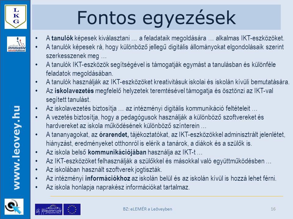 www.leovey.hu Fontos egyezések A tanulók képesek kiválasztani … a feladataik megoldására … alkalmas IKT-eszközöket.