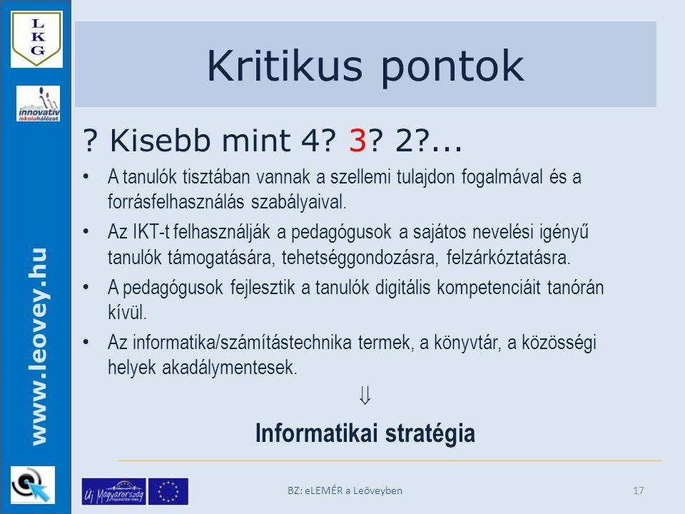 www.leovey.hu Kritikus pontok . Kisebb mint 4. 3.