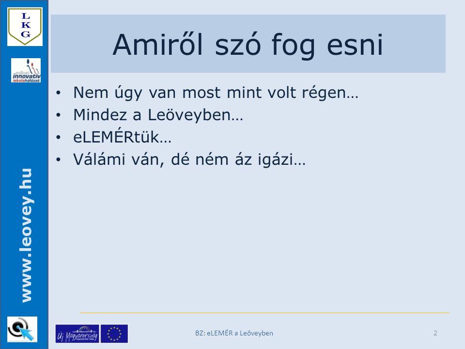 www.leovey.hu Az Excel tábla BZ: eLEMÉR a Leöveyben13
