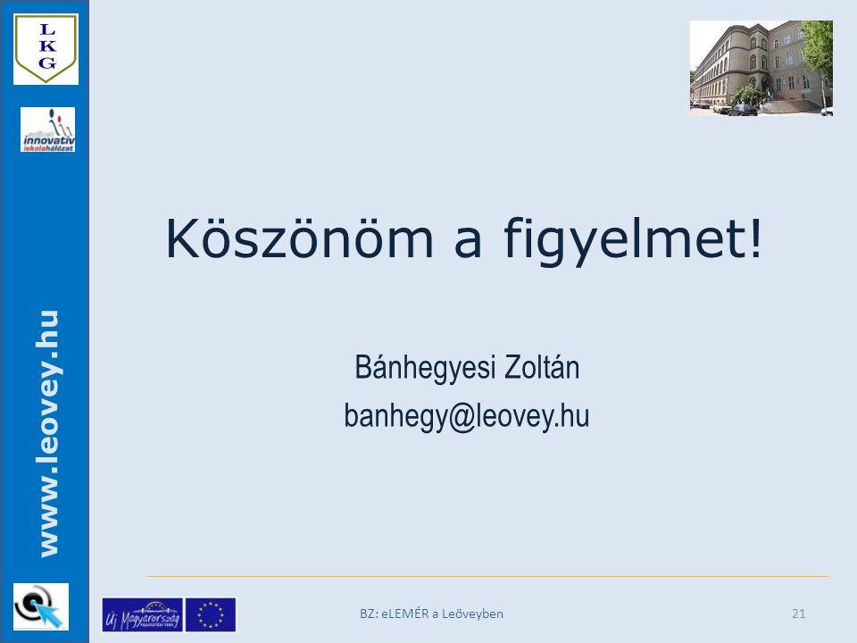 www.leovey.hu BZ: eLEMÉR a Leöveyben Köszönöm a figyelmet! Bánhegyesi Zoltán banhegy@leovey.hu 21