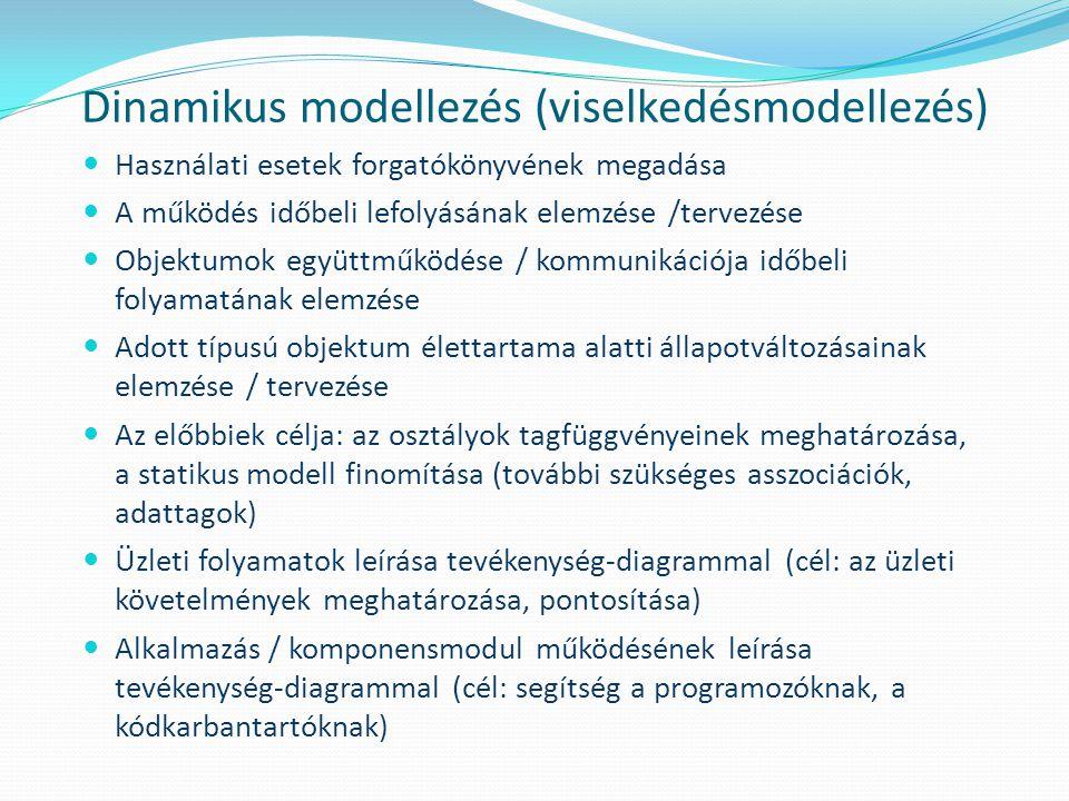Dinamikus modellezés (viselkedésmodellezés) Használati esetek forgatókönyvének megadása A működés időbeli lefolyásának elemzése /tervezése Objektumok