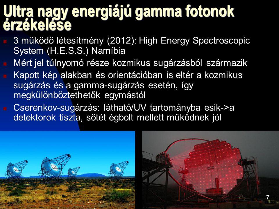Ultra nagy energiájú gamma fotonok érzékelése 3 működő létesítmény (2012): High Energy Spectroscopic System (H.E.S.S.) Namíbia Mért jel túlnyomó része kozmikus sugárzásból származik Kapott kép alakban és orientációban is eltér a kozmikus sugárzás és a gamma-sugárzás esetén, így megkülönböztethetők egymástól Cserenkov-sugárzás: látható/UV tartományba esik->a detektorok tiszta, sötét égbolt mellett működnek jól 7