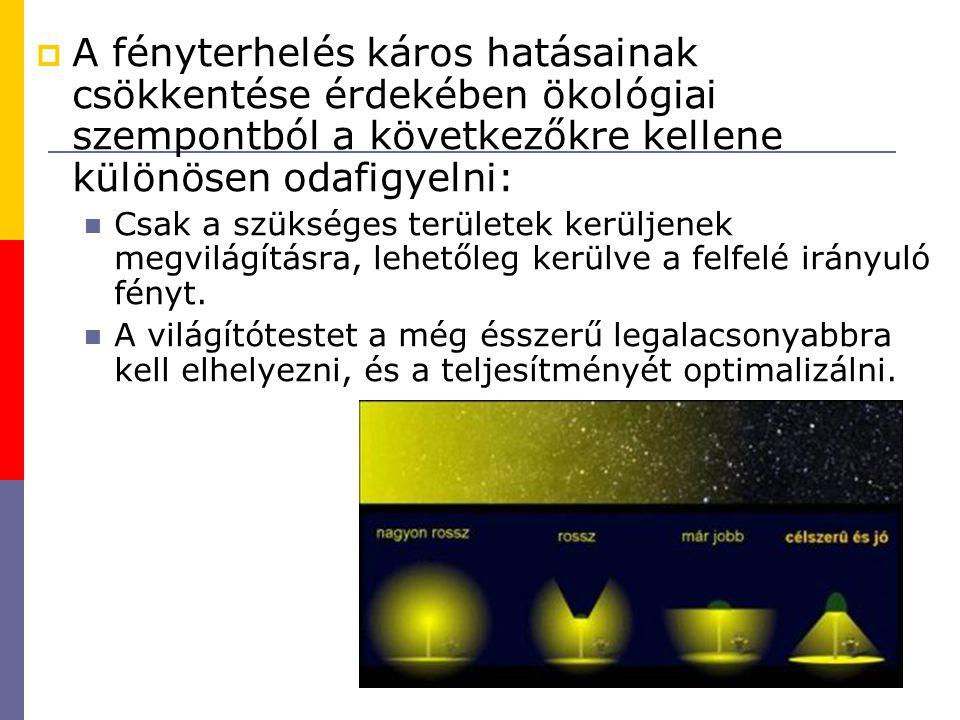  A fényterhelés káros hatásainak csökkentése érdekében ökológiai szempontból a következőkre kellene különösen odafigyelni: Csak a szükséges területek