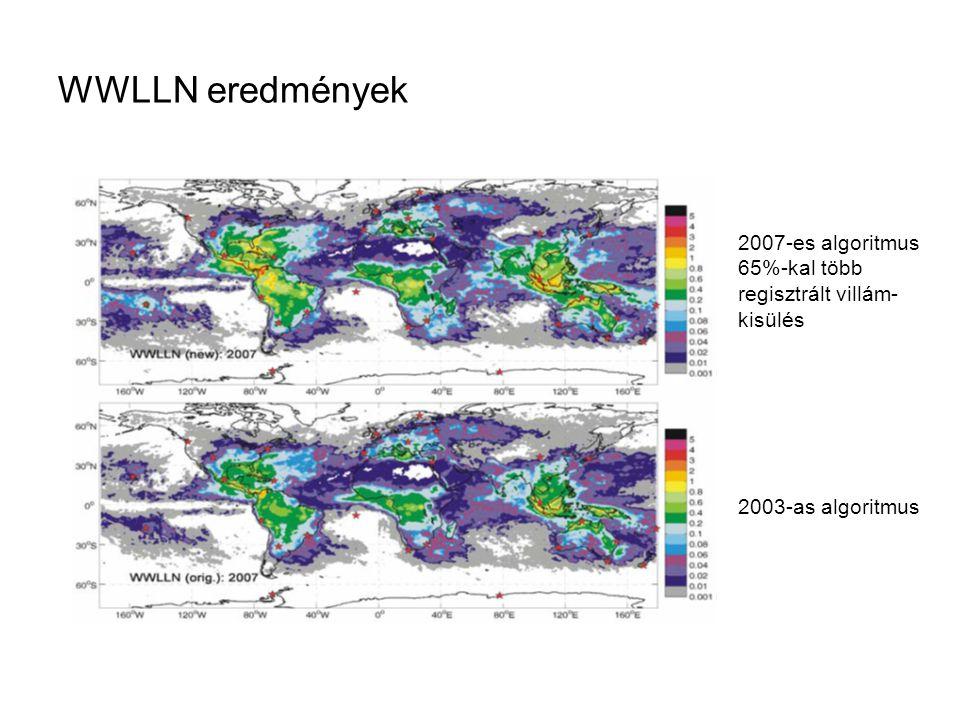 WWLLN eredmények 2007-es algoritmus 65%-kal több regisztrált villám- kisülés 2003-as algoritmus