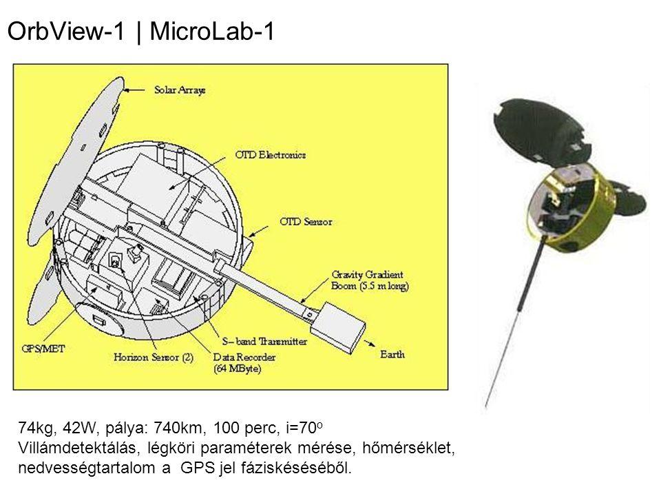 OrbView-1 | MicroLab-1 74kg, 42W, pálya: 740km, 100 perc, i=70 o Villámdetektálás, légköri paraméterek mérése, hőmérséklet, nedvességtartalom a GPS je