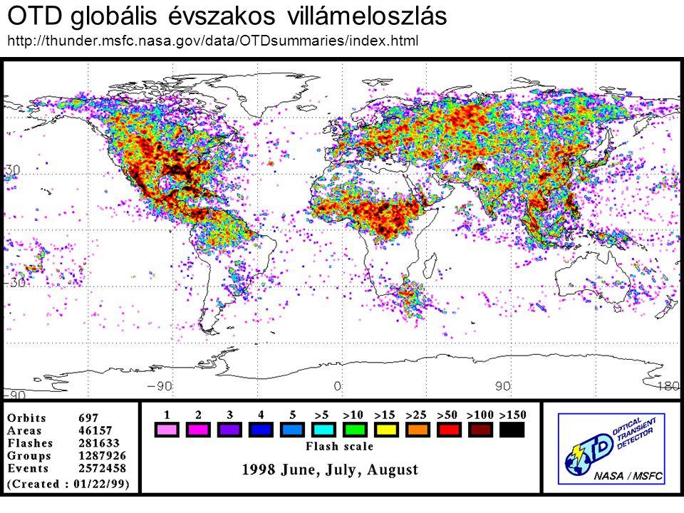 OTD globális évszakos villámeloszlás http://thunder.msfc.nasa.gov/data/OTDsummaries/index.html