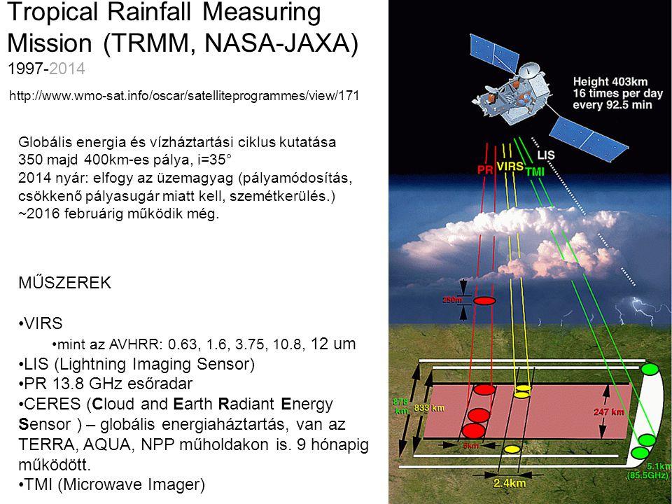 Tropical Rainfall Measuring Mission (TRMM, NASA-JAXA) 1997-2014 MŰSZEREK VIRS mint az AVHRR: 0.63, 1.6, 3.75, 10.8, 12 um LIS (Lightning Imaging Senso