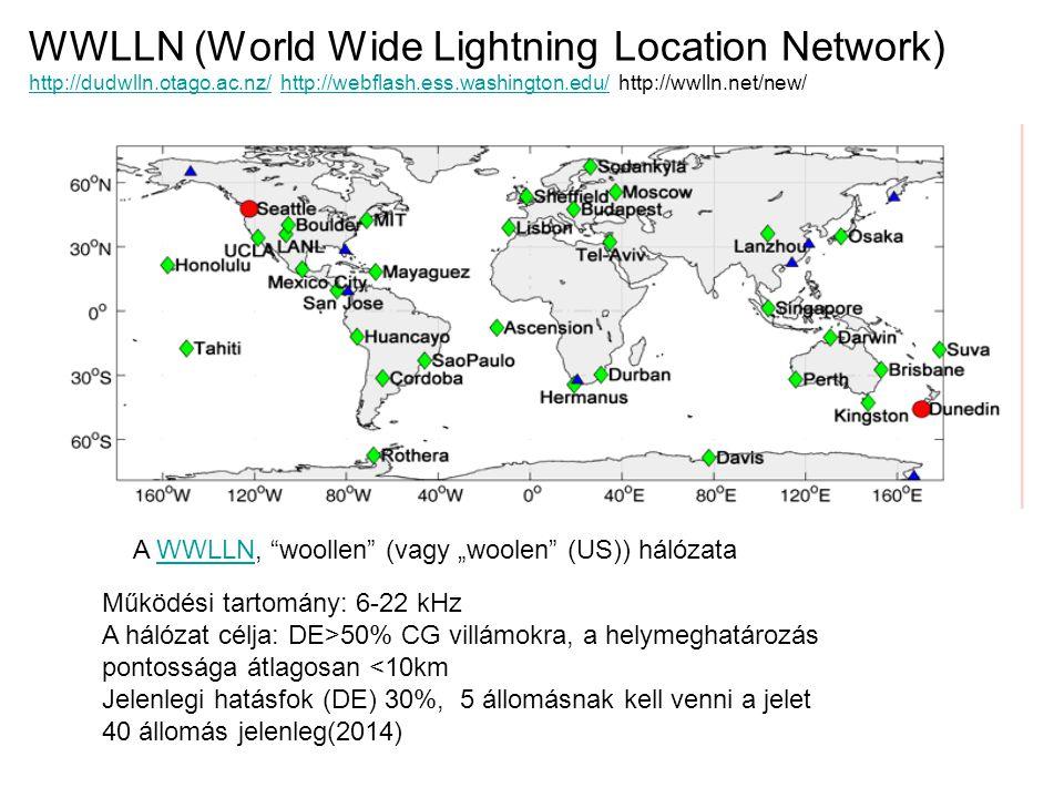 A WWLLN hálózat által mért villámeloszlás egy évre (2005) Az állomások eloszlása miatt az afrikai és amerikai trópusi villámok detektálása kisebb hatásfokú, mint az ausztro-ázsiai szigetvilágbelieké.