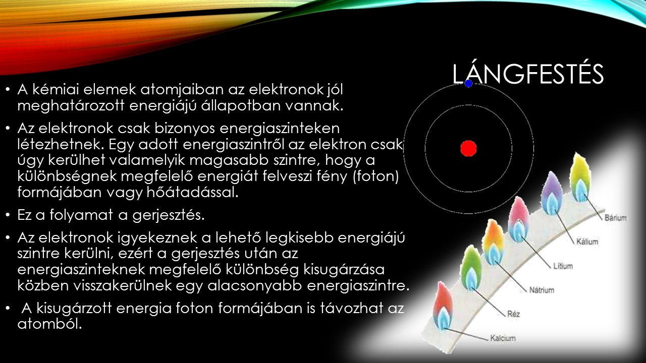 LÁNGFESTÉS A kémiai elemek atomjaiban az elektronok jól meghatározott energiájú állapotban vannak.