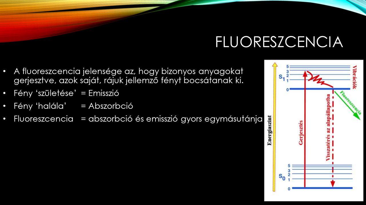 FLUORESZCENCIA A fluoreszcencia jelensége az, hogy bizonyos anyagokat gerjesztve, azok saját, rájuk jellemző fényt bocsátanak ki.