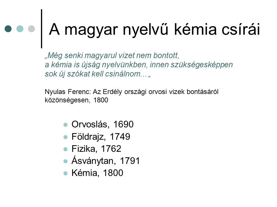 """A magyar nyelvű kémia csírái Orvoslás, 1690 Földrajz, 1749 Fizika, 1762 Ásványtan, 1791 Kémia, 1800 """"Még senki magyarul vizet nem bontott, a kémia is"""