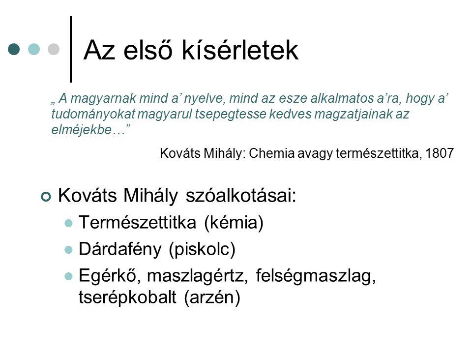 """Az első kísérletek Kováts Mihály szóalkotásai: Természettitka (kémia) Dárdafény (piskolc) Egérkő, maszlagértz, felségmaszlag, tserépkobalt (arzén) """" A"""