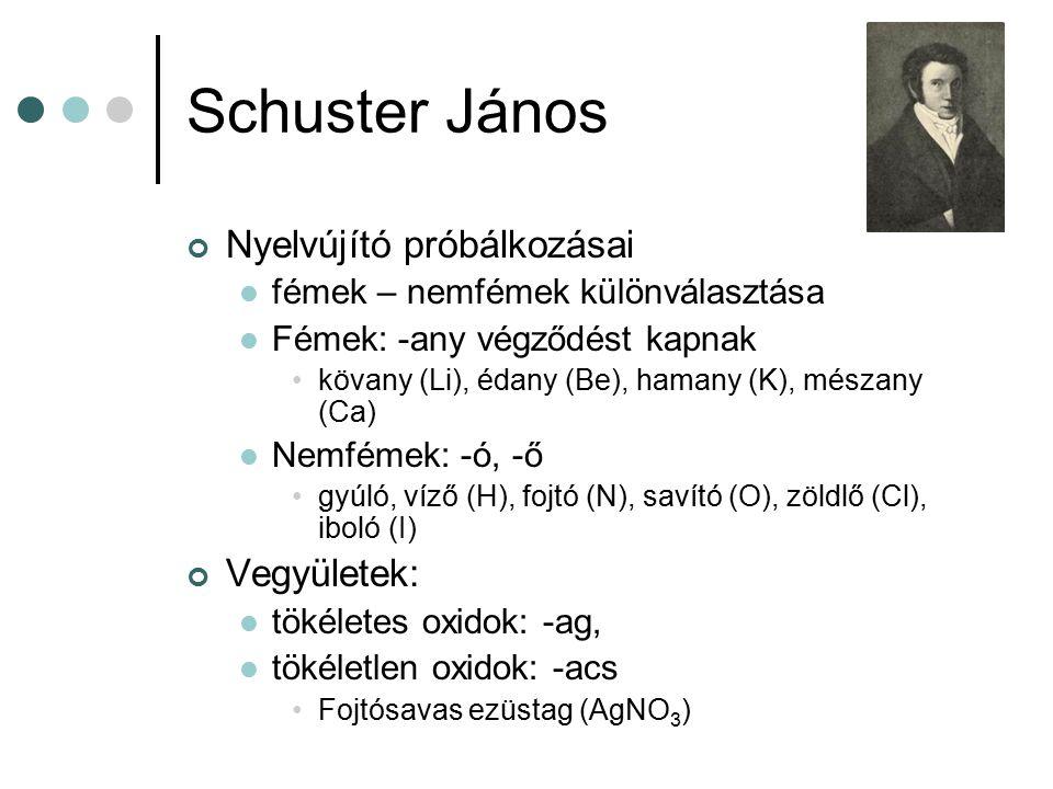 Schuster János Nyelvújító próbálkozásai fémek – nemfémek különválasztása Fémek: -any végződést kapnak kövany (Li), édany (Be), hamany (K), mészany (Ca