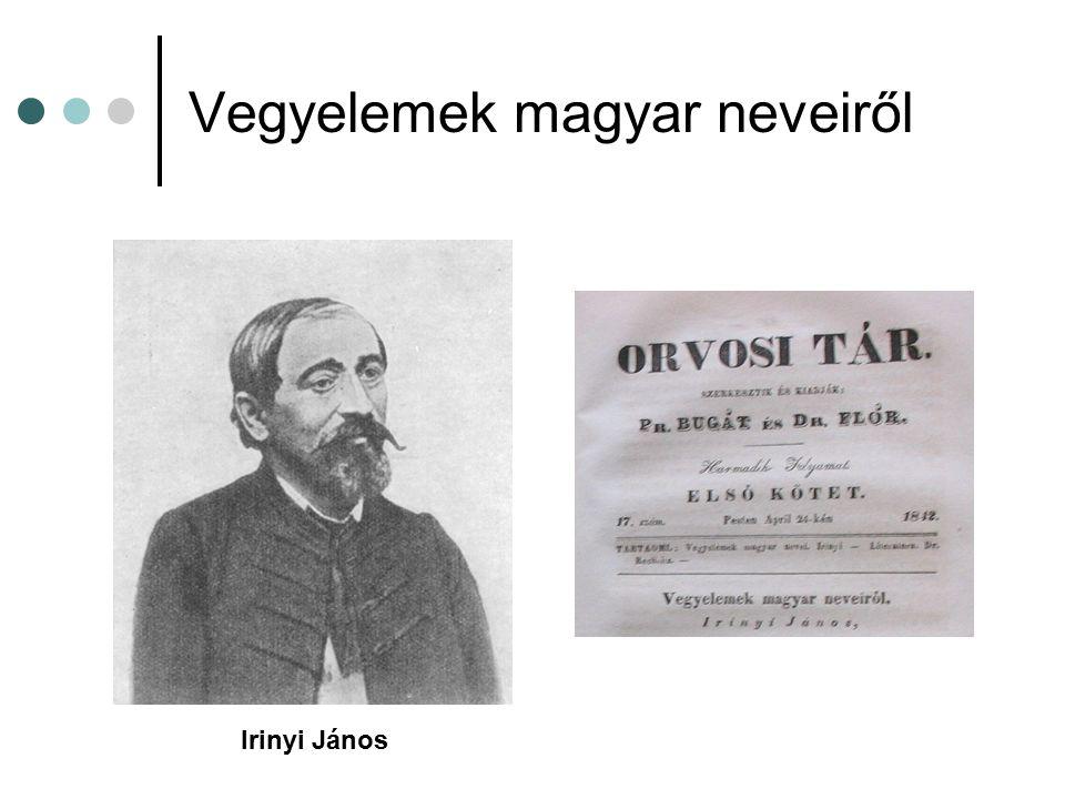 Vegyelemek magyar neveiről Irinyi János