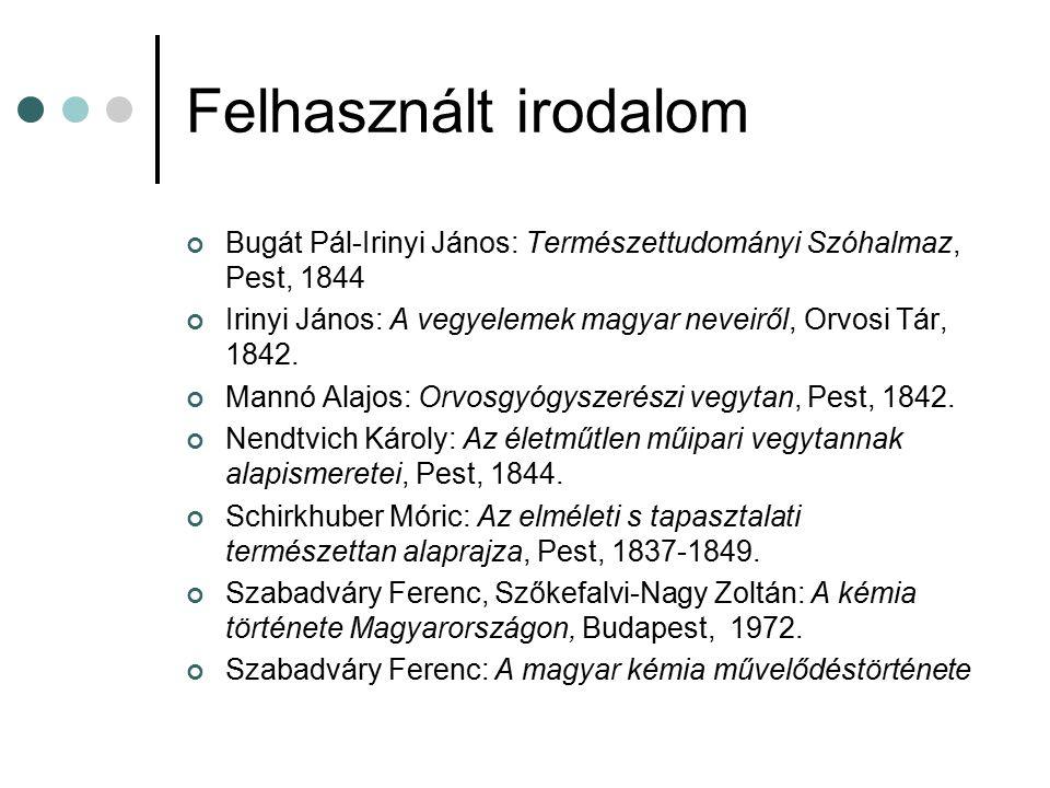 Felhasznált irodalom Bugát Pál-Irinyi János: Természettudományi Szóhalmaz, Pest, 1844 Irinyi János: A vegyelemek magyar neveiről, Orvosi Tár, 1842. Ma
